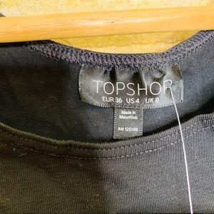 Topshop Tops - Topshop Crop Top Black Stretch Black Size 4